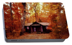 Portable Battery Charger featuring the painting Cabin In The Woods P D P by David Dehner