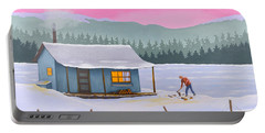 Cabin On A Frozen Lake Portable Battery Charger