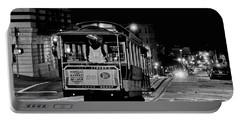 Cable Car At Night - San Francisco Portable Battery Charger