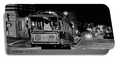 Cable Car At Night - San Francisco Portable Battery Charger
