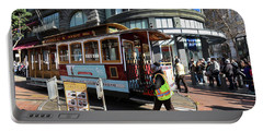Cable Car At Union Square Portable Battery Charger by Steven Spak