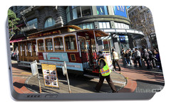 Portable Battery Charger featuring the photograph Cable Car Union Square Stop by Steven Spak