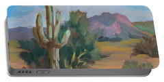 Portable Battery Charger featuring the painting Cactus By The Red Mountains by Diane McClary