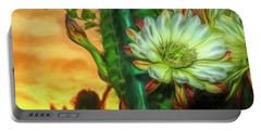 Cactus Flower At Sunrise Portable Battery Charger