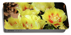 Portable Battery Charger featuring the photograph Cactus Flowers And Friend by Sheila Brown