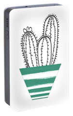 Portable Battery Charger featuring the mixed media Cactus In A Green Pot- Art By Linda Woods by Linda Woods