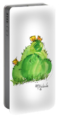 Cactus In The Yellow Flower Watercolor Painting By Kmcelwaine Portable Battery Charger