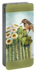 Portable Battery Charger featuring the painting Cactus Wren And Saguaro by Marilyn Smith