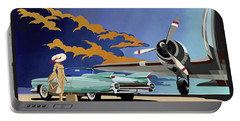 Portable Battery Charger featuring the painting Cadillac Eldorado 1959 by Sassan Filsoof