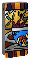 Portable Battery Charger featuring the painting Cafe Caribe  by Oscar Ortiz