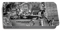 Cafe Lady Catherine Black And White Portable Battery Charger
