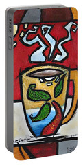 Portable Battery Charger featuring the painting Cafe Palmera by Oscar Ortiz