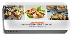 Portable Battery Charger featuring the digital art Cafe Pistachios Banner by Mario MJ Perron