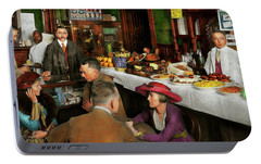 Portable Battery Charger featuring the photograph Cafe - Temptations 1915 by Mike Savad