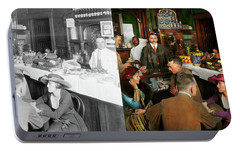 Portable Battery Charger featuring the photograph Cafe - Temptations 1915 - Side By Side by Mike Savad