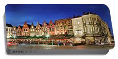 Cafes And Restaurants On Markt Square - Bruges Portable Battery Charger