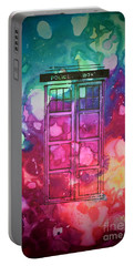 Portable Battery Charger featuring the drawing Caia's Tardis by Justin Moore