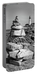 Portable Battery Charger featuring the photograph Cairn And Lighthouse  -56052-bw by John Bald