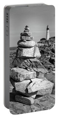 Cairn And Lighthouse  -56052-bw Portable Battery Charger by John Bald