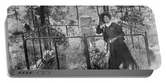 Portable Battery Charger featuring the photograph Calamity Jane At Wild Bill Hickok's Grave 1903 by Daniel Hagerman