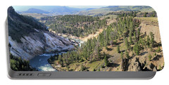 Calcite Springs Along The Bank Of The Yellowstone River Portable Battery Charger