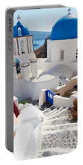 Caldera With Stairs And Church At Santorini Portable Battery Charger by Anastasy Yarmolovich