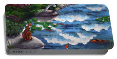 Calico Cat At Koi Pond Portable Battery Charger