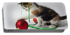 Calico Kitten And Christmas Ornaments Portable Battery Charger