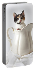 Calico Kitten In White Pitcher Portable Battery Charger