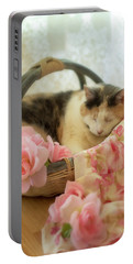 Calico Kitty In A Basket With Pink Roses Portable Battery Charger