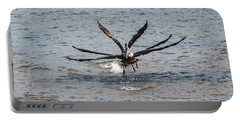 California Brown Pelicans Flying In Tandem Portable Battery Charger