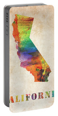 California Colorful Watercolor Map Portable Battery Charger