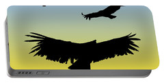 California Condors In Flight Silhouette At Sunrise Portable Battery Charger