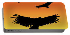 California Condors In Flight Silhouette At Sunset Portable Battery Charger