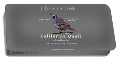 California Quail - Color Bird - White Text Portable Battery Charger