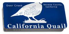 California Quail - White Graphics Portable Battery Charger