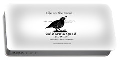 California Quail - White Portable Battery Charger