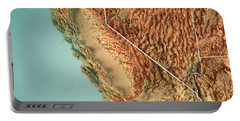 California State Usa 3d Render Topographic Map Border Portable Battery Charger