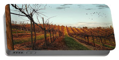 California Vineyard In Winter Portable Battery Charger
