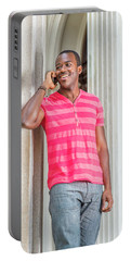 Man Calling Outside Portable Battery Charger