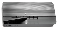 Calm Barnegat Bay New Jersey Black And White Portable Battery Charger