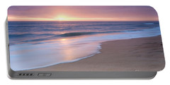 Calm Beach Waves During Sunset Portable Battery Charger