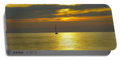 Calm Before Sunset Over Lake Erie Portable Battery Charger by Donald C Morgan