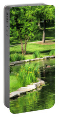 Portable Battery Charger featuring the painting Calm Lake Ellyn by Christopher Arndt
