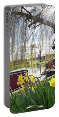 Portable Battery Charger featuring the photograph Cambridge Riverbank In Spring by Gill Billington