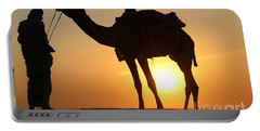 Camel And Driver In Rajasthan Desert Sunset Portable Battery Charger