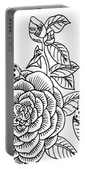 Camellia And Ladybugs Drawing  Portable Battery Charger