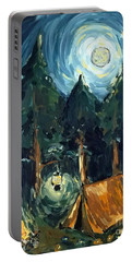 Portable Battery Charger featuring the painting Camp At Night by Maria Langgle