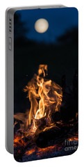 Camp Fire And Full Moon Portable Battery Charger by Cheryl Baxter