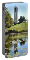 Campanile Reflection In Kansas Portable Battery Charger by Catherine Sherman